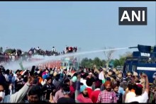 Haryana Police Uses Water Cannons, Tear Gas To Disperse Farmers