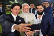 PM Meets Bollywood Stars, Pays Tribute To Mahatma Gandhi