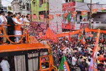 Grand BJP Show Mars TRS Victory Party In GHMC Polls