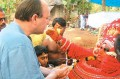The author with Hari Das in his theyyam avatar