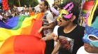 <b>A free country:</b> Participants with rainbow-coloured flags at a gay pride rally in Delhi in June 2009; (right) the camp favourite, Rohit Verma of Big Boss fame