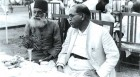 Ambedkar with Maulana Hasrat Mohani at Sardar Patel's reception in 1949