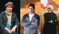<b>What, art?</b> From left, <i>Lajja</i> author Taslima Nasreen,  actor Shahrukh Khan and  the inimitable M.F. Husain
