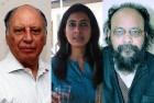 <B>Poets' collective</b> Keki Daruwala, Arundhati Subramanium and Joy Goswami