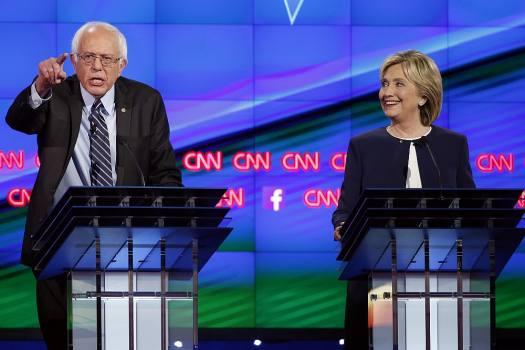 Sen. Bernie Sanders, of Vermont and Hillary Rodham Clinton during the Democratic presidential debate.