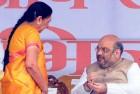 Gujarat CM Anandiben Patel with Amit Shah, 2014