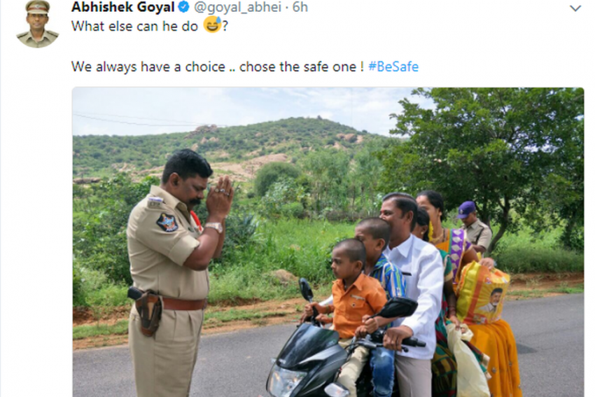 Picture Of Andhra Pradesh Police Officer Pleading To Overloading Biker Has Twitter In Splits