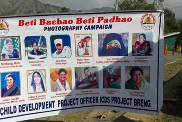 Andrabi's Photo On Beti Bachao Beti Padhao Campaign Poster: Child Development Project Officer Suspended