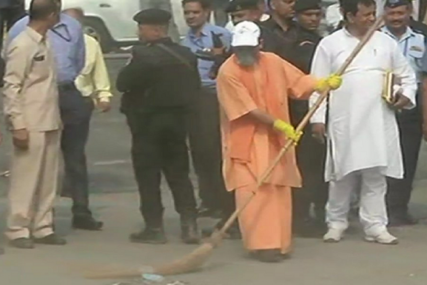 Amid Controversial Statements By BJP Leaders, Adityanath Visits Taj Mahal, Leads Cleanliness Drive