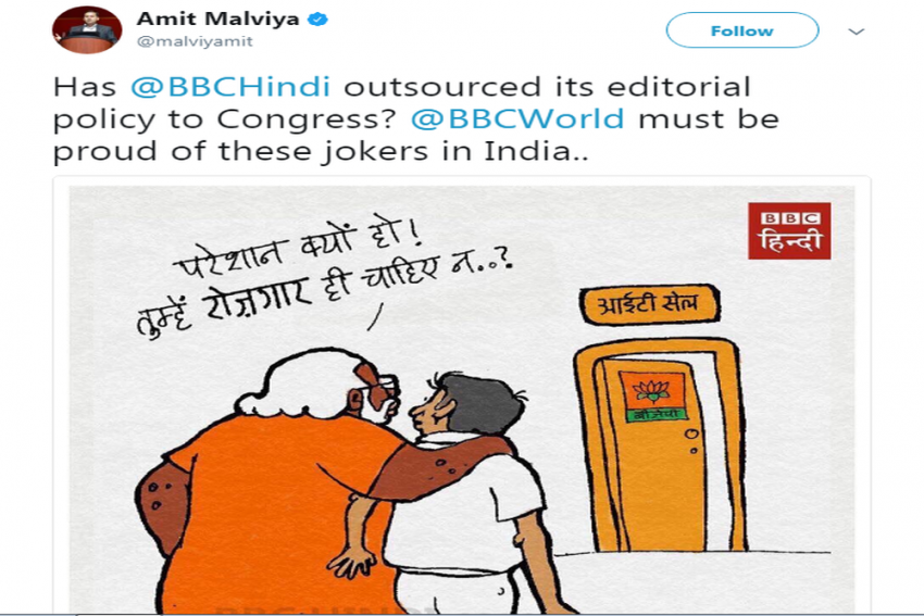 BJP's IT Cell Head Can't Stomach BBC's Cartoon Targeting Unemployment And Its Social Media Team