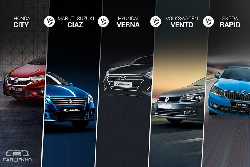 Nov 2017 Sales Comparison - City vs Ciaz vs Verna vs Vento vs Rapid