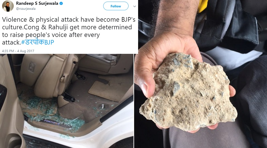 Won't Step Back Because Of Slogans Or Stones, Says Gandhi After Vehicle Attacked