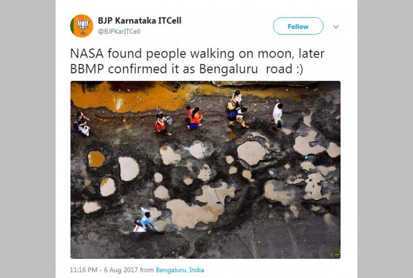 BJP's Karnataka IT Cell Passes Off A Mumbai Potholed Road Picture As Road In Congress-Run Bengaluru
