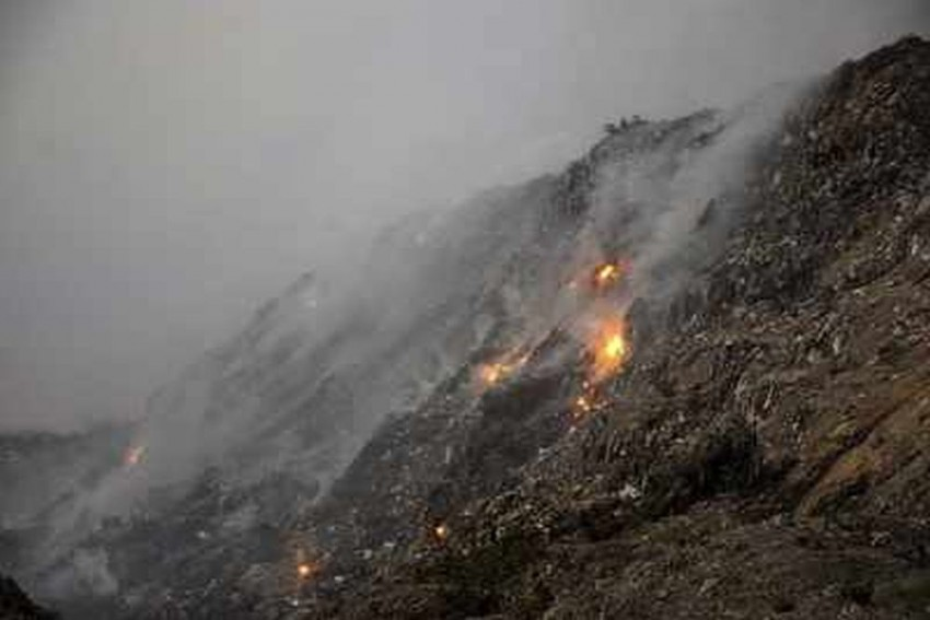 Fire Continues To Smoulder At Bhalswa Landfill In Delhi, Air Quality Remains 'Very Poor'