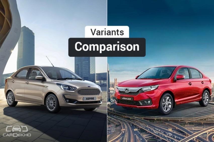 2018 Ford Aspire Facelift vs Honda Amaze: Variants Comparison