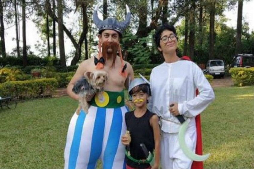 Aamir Khan, Kiran Rao And Azad Dresses Up As Asterix Characters For A Party