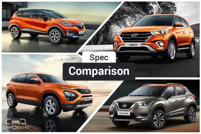 Tata Harrier Vs Hyundai Creta Vs Renault Captur Vs Nissan Kicks: Spec Comparison