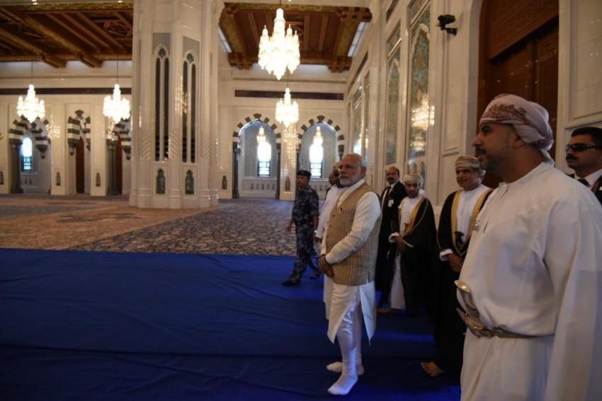 PM Modi Visits Sultan Qaboos Grand Mosque In Muscat
