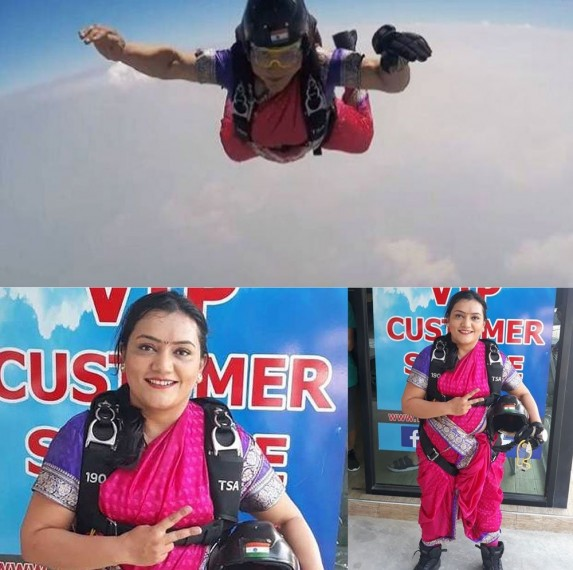Pune Adventurist Shital Mahajan Sets New Record, Skydives In Traditional 'Nauvari' Saree