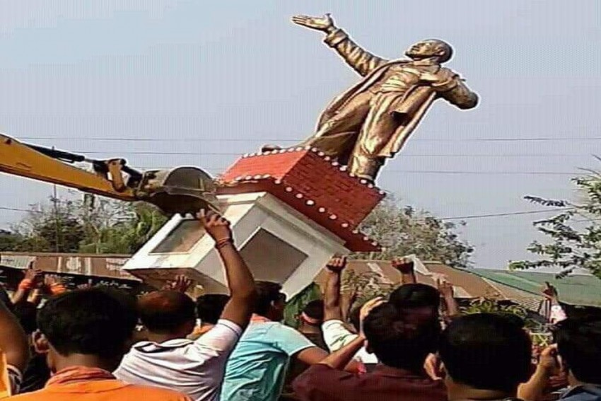 'They Played Football With Lenin's Head': Tripura BJP Supporters Bulldoze Communist Icon's Statue