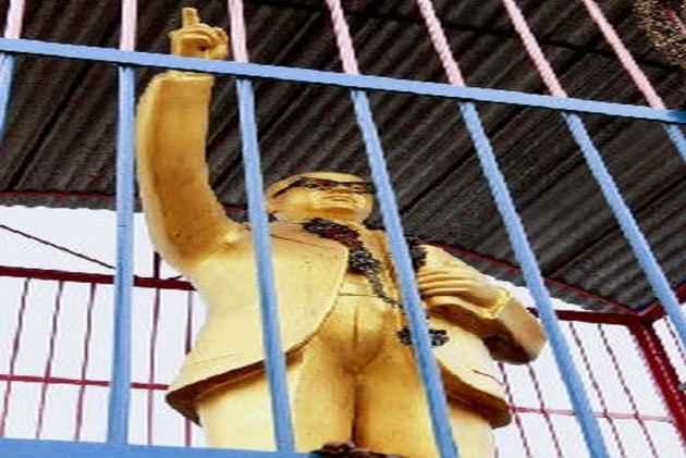 B.R Ambedkar's Statue Locked In Iron Cage In Uttar Pradesh
