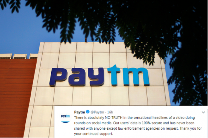 'User Data 100% Secure, Never Shared With Anyone Except Law Enforcement Agencies,' Says Paytm