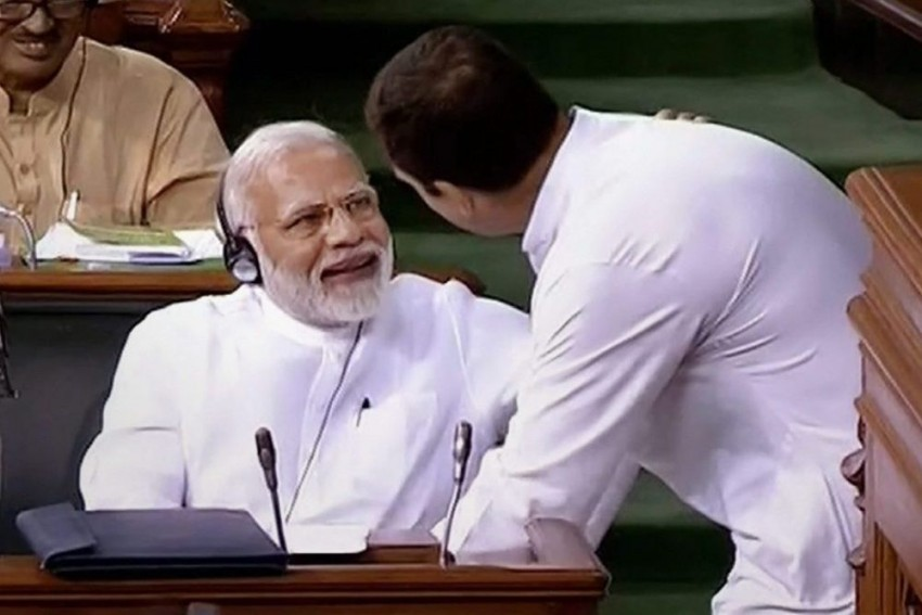 Modi Mocks Rahul Gandhi's Gesture To Make Him Stand Before Hugging, Says He Is In 'Hurry' To Get PM's Chair