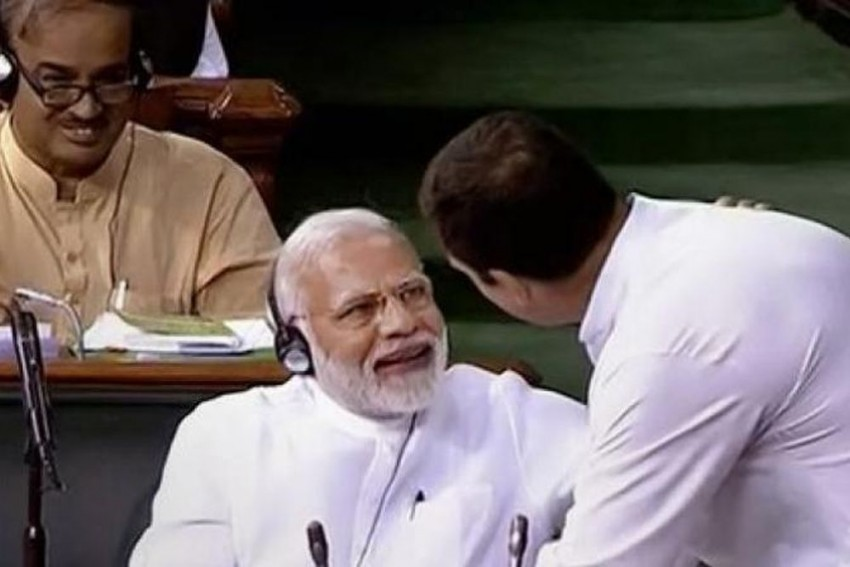Confident Modi Defeats Rahul's Hug And Wink In Trust Vote