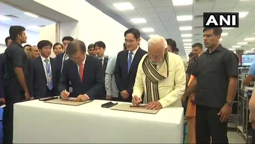 PM Modi, South Korean President Inaugurate World's Largest Mobile Factory In Noida