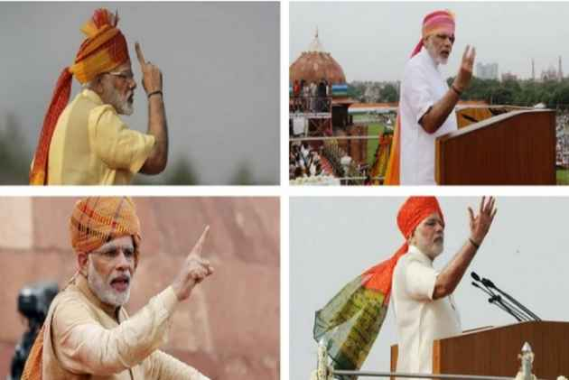 A Look At Narendra Modi's Independence Day Turbans Since 2014