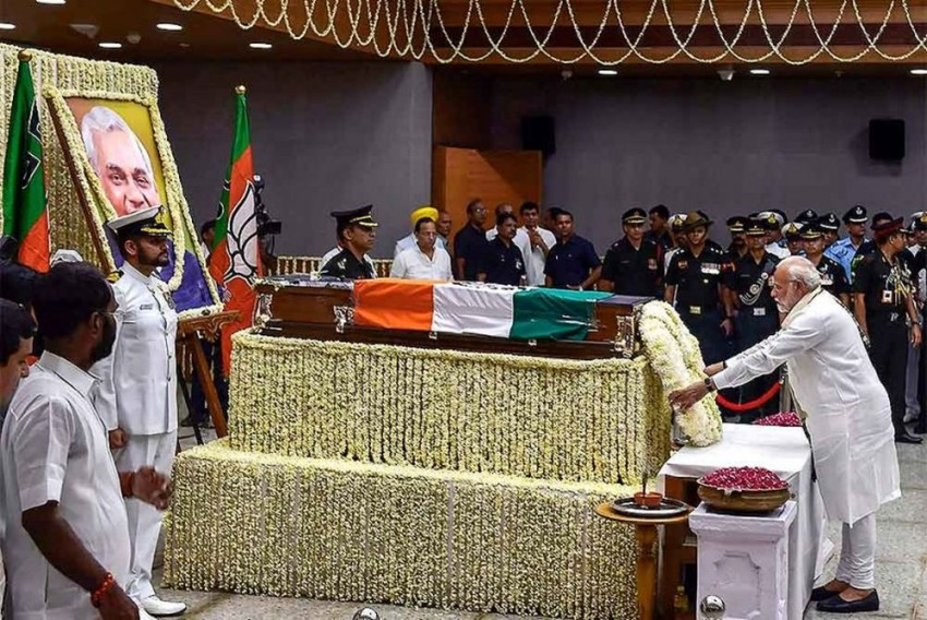 Thousands Gather As Vajpayee's Funeral Procession Leaves BJP HQs