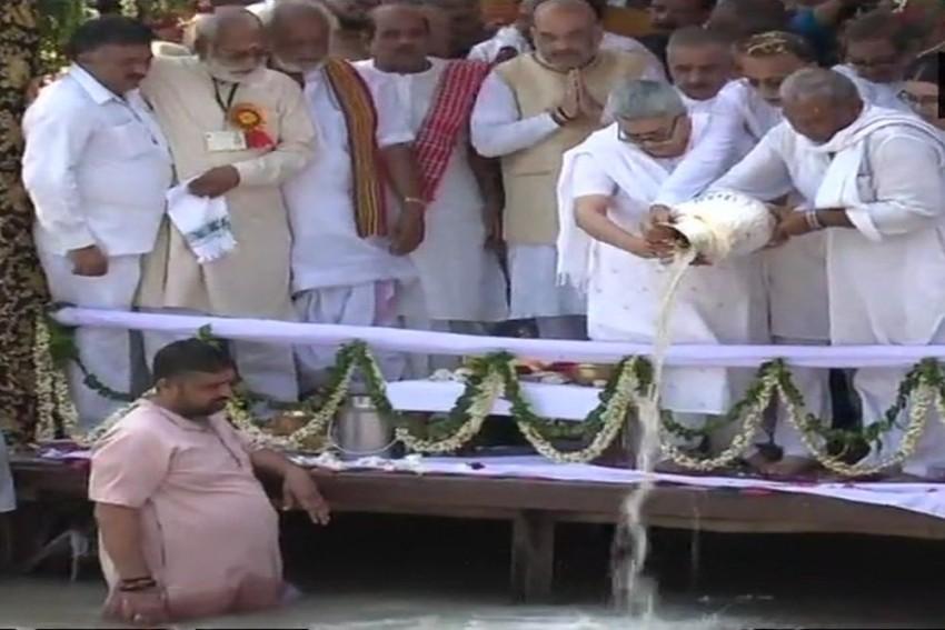 Atal Bihari Vajpayee's Ashes Immersed In Ganga At Har Ki Pauri