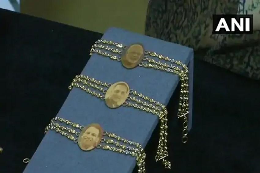 Gold Rakhis With Faces Of PM Modi, Yogi Adityanath Hit Market