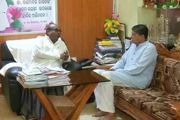 Day After Expulsion From BJD, Damodar Rout Meets Baijayant Panda