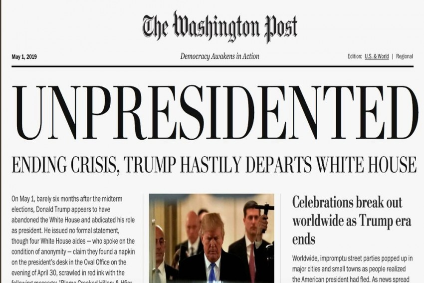 Fake Edition Of Washington Post Distributed Saying 'Trump Hastily Departs White House'