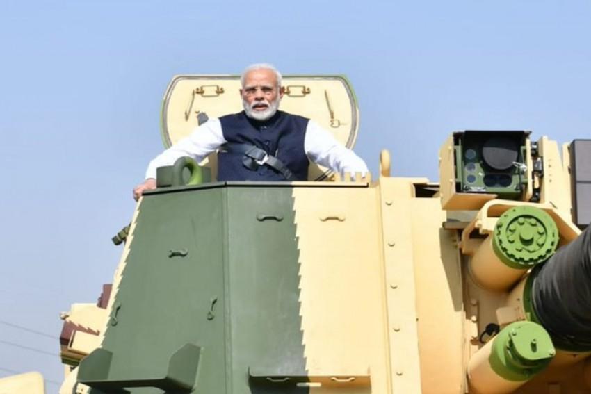 Watch: PM Modi Takes A Ride In A Tank At L&T's Gun-Making Facility