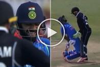 WATCH: Kohli Can't Help But Giggle As Rayudu Comically Braves Nasty Hit