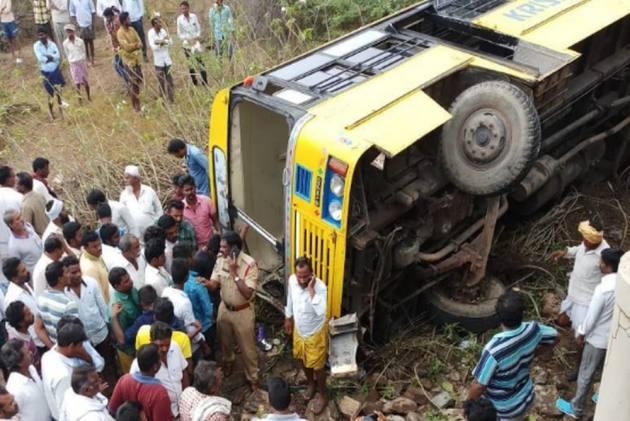 School Bus Carrying 50 Children Falls Into Culvert In Andhra