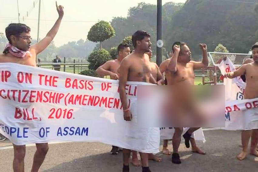 KMSS Protest Naked In Delhi Against Citizenship Bill