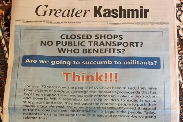 Govt's Advertisement In J&K Newspapers Asks People To Reopen Shops, Resume Public Transport