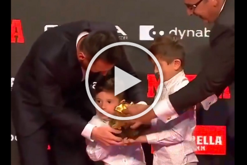 Young Sons Present Lionel Messi 'Boot' For His Record-Extending Sixth Golden Shoe Win - WATCH Viral Video