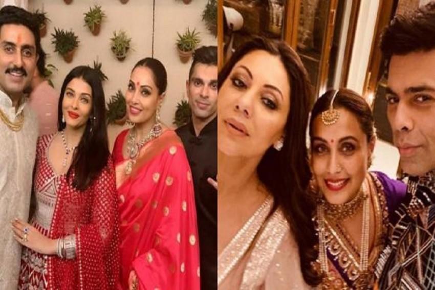 Aishwarya Rai Bachchan, Abhishek Bachchan, Bipasha Basu, Rani Mukerji, Big B Pose At Diwali Bash