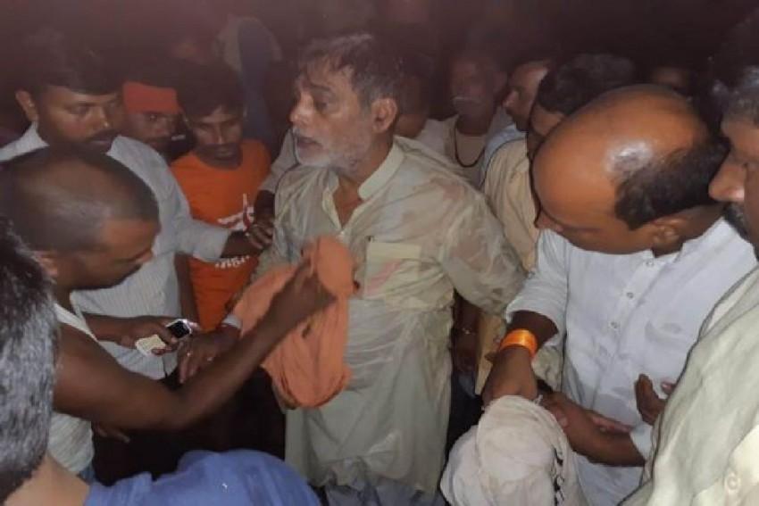 BJP Leader Ram Kripal Yadav Falls Into River During Flood Survey In Bihar