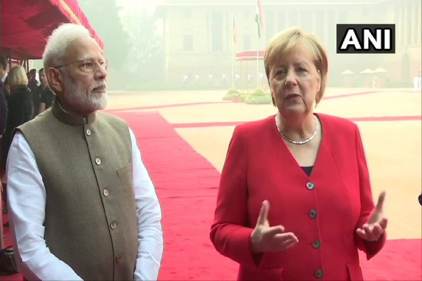 German Chancellor Angela Merkel Arrives In Delhi, To Hold Talks With PM Modi Today