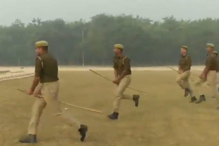 UP Cops Ride 'Imaginary Horses' During Mock Drill In Ferozabad District
