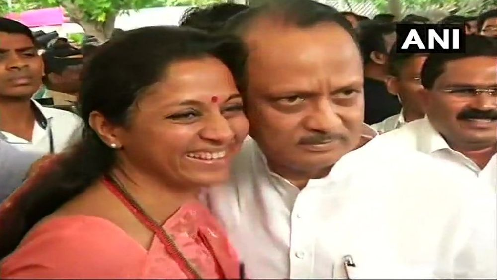 NCP's Supriya Sule Welcomes Ajit Pawar With Hug As Maharashtra MLAs Take Oath