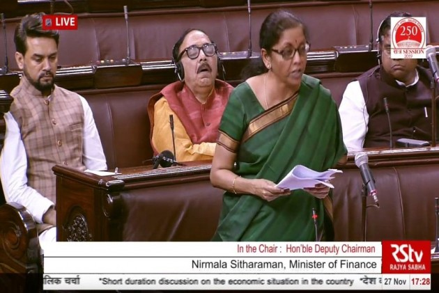 Twitter Has A Laugh As BJP Minister Sleeps While Sitharaman Speaks On Indian Economy