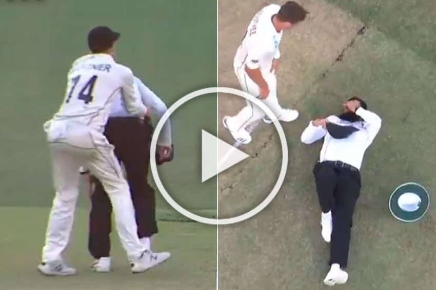 AUS Vs NZ, 1st Test: Record-Breaking Aleem Dar Comes Off Second Best After Hilarious Clash With Mitchell Santner -- WATCH