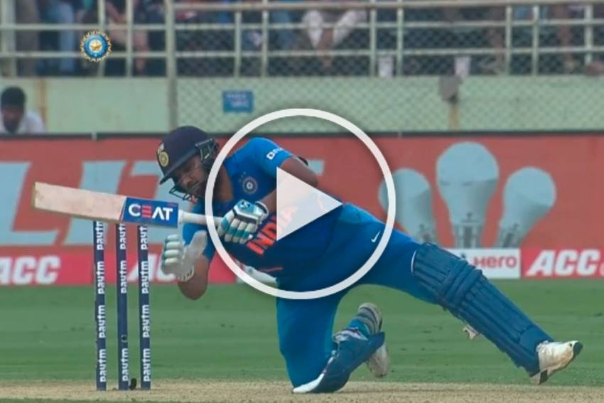 IND Vs WI, 2nd ODI: Falling Rohit Sharma Hits Ball Out Of Park In Outlandish Display Of Brilliance - WATCH