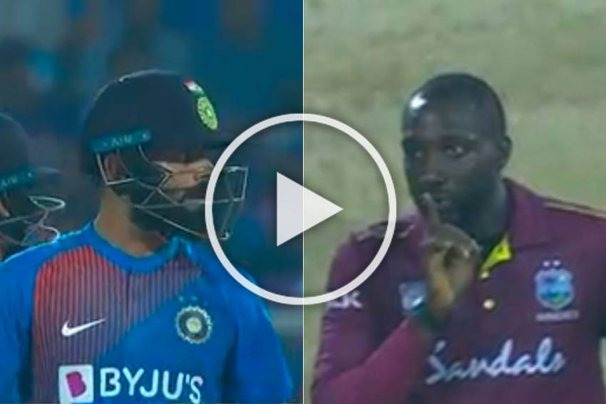 IND Vs WI, 2nd T20I: Forget Notebook! Virat Kohli Gets A Taste Of His Own 'Silent Treatment' From Kesrick Williams - Watch Viral Video